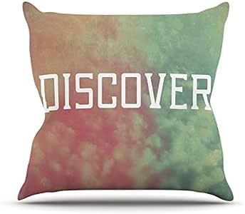 "Kess InHouse Rachel Burbee ""发现""绿色橙色抱枕 16 by 16-Inch RB2014APW02"