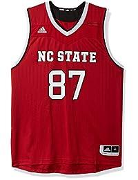 阿迪达斯 NCAA 北卡罗来纳州狼人队男式复制品篮球球衣,红色,XL 码