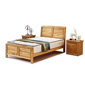 Household 豪斯 原木色实木床 儿童床 单人床 卧室床 套装 床配椰棕床垫一张 厚7cm 偏硬 106-07-135*190cm(亚马逊自营商品, 由供应商配送)