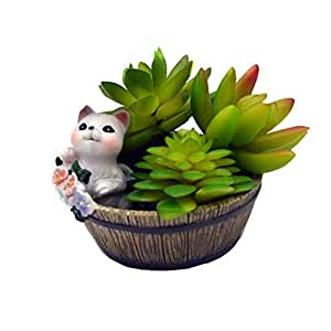 Youfui 室内植物盆 多肉铅笔架 卡通家居装饰 肉生花盆 Country Cat