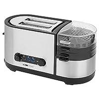 Clatronic TAM 3688 多功能烤面包机 5合1,烤面包,鸡蛋,蛋蛋/蛋蛋/搅拌器,餐具,蒸汽烹饪配件,烤面包盘,不锈钢箱