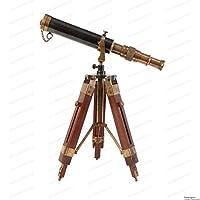 桌面装饰望远镜复古海洋礼品功能乐器收藏品礼品(黄铜古董+木头)