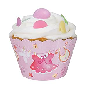 Pink Clothesline Girl Baby Shower Cupcake Wrappers, 12ct
