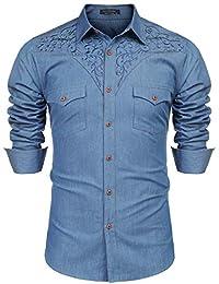 COOFANDY 男士长袖花卉刺绣衬衫西部按扣牛仔系扣衬衫