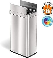 iTouchless 13加仑不锈钢自动垃圾桶,带异味控制系统,大盖开启传感器,厨房无触摸式垃圾桶 Stainless Steel, 18 Gallon WS18RSL