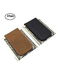 MOSIYEEF 皮革磁性钱夹 男士修身紧凑 金色 棕色 黑色 多色 2 件套