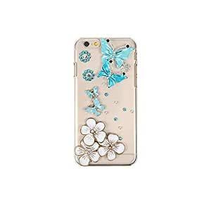 智能手机壳 透明 3D 装饰 套 透明壳 硬质 装饰 定制 壳wn-0061332-wy シンプルスマホ2 401SH ブルーバタフライ