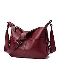 JCTHBAG 女士皮革斜挎钱包,拉链旅行钱包单肩智能手机包手提包