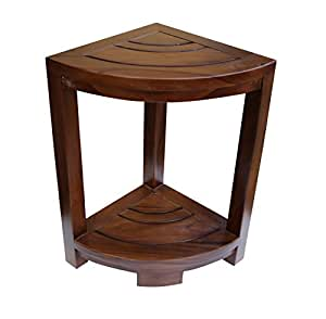 ALATEAK 角柚木浴室水疗淋浴凳边角桌凳完全组装棕色