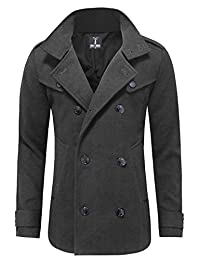 Tom's WARE 男式时尚时尚经典羊毛双排扣大衣外套