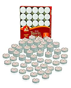 Mini Tea Light Candles - 50 Bulk Pack - White Unscented Travel, Centerpiece, Decorative Candle - 1 Hour Burn Time - Pressed Wax - By Ner Mitzvah