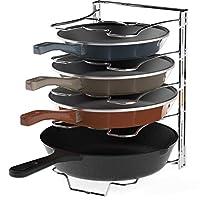 厨房橱柜 5 个可调节隔层平底锅和锅盖收纳架,镀铬