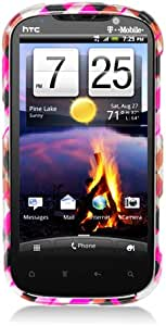 Eagle Cell PIHTCAMAZE4GG2D153 Stylish Hard Snap-On Protective Case for HTC Amaze 4G/Ruby - Retail Packaging - Pink Brown Black Check