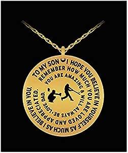 棒球项链 To Son From Dad - 金色/银色激光雕刻项链 - 励志礼品吊坠 金色 43235-138905
