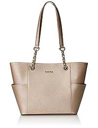 Calvin Klein 卡尔文·克莱恩 十字纹牛皮皮革编织 手提包