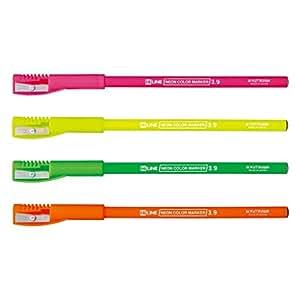 KUTSUWA 铅笔的荧光标记 附带削笔帽 4色套装 4色套装