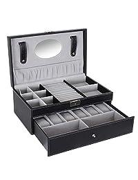 SONGMICS 黑色首饰盒 6 手表收纳盒 带锁和镜子 UJWB11B