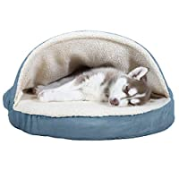 FurHaven 宠物狗床 — 狗狗和猫咪矫正型圆形舒适狗窝 — 多种颜色和款式可选 Faux Sheepskin Blue 26 英寸