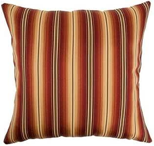 "The Pillow Collection Bailey 条纹欧式枕套日落 ""Multi"" European/26"" x 26"" EURO-D-32377-SUNSET-C54P46"