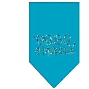 Trouble Maker 莱茵石狗头巾 蓝绿色 小号