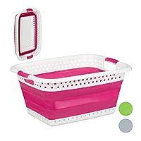 Relaxdays 可折叠洗衣篮,带手柄,塑料和硅胶,节省空间的洗衣篮,高 27 x 61 x 45.5 厘米,颜色选择 粉色 1 Stück 10025601_52