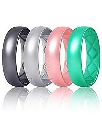 Egnaro 硅胶结婚戒指女士,内弧人体工程学透气设计,4 环/1 环金属颜色硅胶戒指女士,6 毫米宽- 2 毫米厚