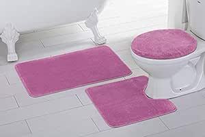 3 件纯色防滑浴室地毯套装适用于浴室 U 型轮廓地毯、垫子和马桶盖新款 粉红色