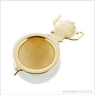 青芳 过滤器・滤茶器 金色 尺寸:W11.6×D7.3×H3.7cm(含接盘)