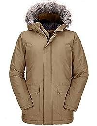 Wantdo 男式冬季外套保暖加厚派克大衣带毛皮帽长夹克