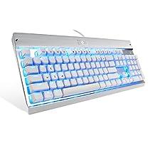 EagleTec KG010-N 机械键盘 104 键用于游戏/办公/工业(黑色)KG011 蓝色 LED 背光(白+银)