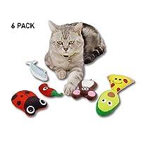 PetLike 猫薄荷玩具 毛绒互动猫咪玩具 猫薄荷内里 牙齿清洁 猫薄荷玩具 披萨鱼 老鼠 可爱猫咪玩具 适合猫咪室内猫 6 件装