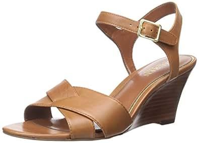 Lauren Ralph Lauren HEILA 女士坡跟凉鞋 Polo 棕褐色柔软抛光小牛 7 M US
