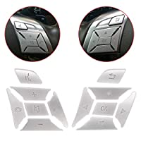 XtremeAmazing Steering Wheel Button Trim Cover Cap 贴纸 银质