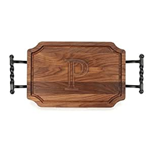 """CHUBBCO W310-STWB-P Cutting Board with Twisted Ball Handle Finish with Scalloped Corners, 12-Inch by 18-Inch by 1-Inch, Monogrammed """"P"""", Walnut"""