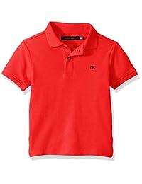Calvin Klein 男童纯色珠地布 Polo 衫 赛车红 Large (14/16)