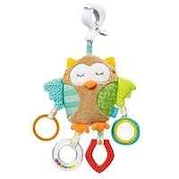 Fehn 071160 活动玩具动物 猫头鹰 / 运动机能玩具用于悬挂 镜子和戒指用于啃咬 抓握和发出声音 / 用于 0+ 以上婴儿和幼儿