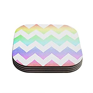 """Kess InHouse Catherine McDonald """"Water Color"""" Chevron Coasters, 4 by 4-Inch, Multicolor, Set of 4"""