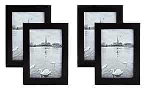 金州艺术木相框,简约风格,带真正的玻璃和画架,桌面边框,黑色 黑色 4x6 Frame