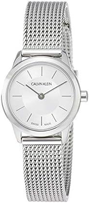 Calvin Klein 女士指针式石英腕表,简约银色手表 ,配不锈钢手链– K3M23126
