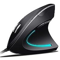 垂直鼠标 USB 有线人体工程学光电电脑鼠标高精密和可调节 DPI 3200/ 2000/ 1200/ 800with 6按钮和4色*灯