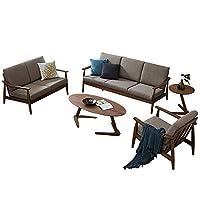 百伽 马来西亚原装进口组合沙发客厅家具实木沙发简约现代多人沙发北欧布艺沙发63375/63376/63377 1+2+3人位【亚马逊自营,供应商配送】