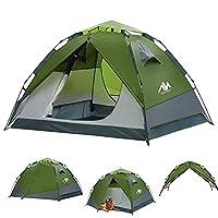 露营帐篷 3-4 人轻松设置,配有帐篷和顶棚雨篷 - 2 合 1 双层热封防水帐篷 - 液压自动快速升开帐篷 - 即插 2 门通风圆顶帐篷