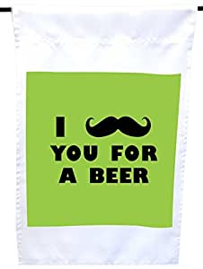 Rikki Knight I Mustache You for a Beer Lime Green Color House or Garden Flag,30.48 x 45.72 cm 旗帜尺寸带 27.94 x 27.94 cm 图像