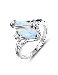 Barzel 玫瑰金和白金镀层合成红宝石、白火蛋白石和方晶锆石戒指 White Gold Fire Opal