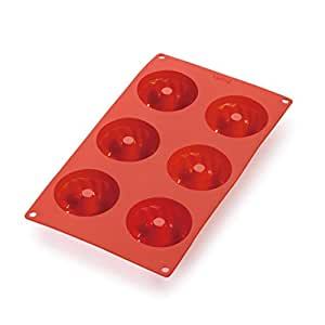 Lekue 6 Cavities Savarin 迷你多型腔烘焙模,红色