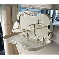 Yoki Home 车载水杯架龟派折叠餐桌后座置物水壶架(驼色2个装)茶杯车用固定座多功能杯托