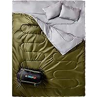 Sleepingo 双睡袋,适合背包、露营或徒步旅行。 加大双人床 XL 码! Cold Weather 2 人防水睡袋适合成人或青少年。 轻型卡车、帐篷或睡垫。