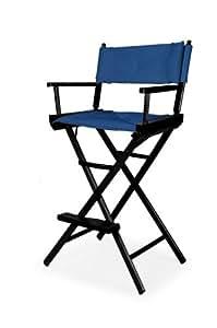 伸缩式休闲传统吧台高导向椅,黑色饰面带蓝色套