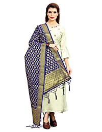 ELINA FASHION 女式 Zari 工作印度巴基斯坦 Banarasi 艺术丝绸编织杜帕塔用于礼服材质和纱丽服