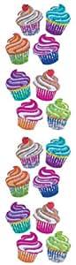 Jillson Roberts Prismatic Stickers, Mini Cupcakes, 12-Sheet Count (S7323)
